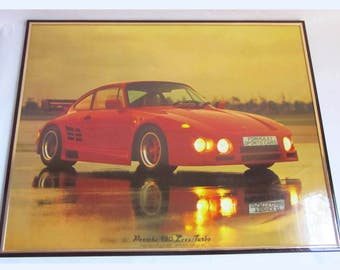 Vintage Retro 80's Red 'Porche 930' Medium Framed Picture Print.