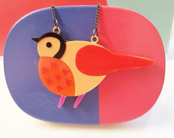 Bird Necklace - Bird Jewellery, Bird Pendant, Gift For Women, Nature Gift, Animal necklace, Acrylic,Wood necklace,