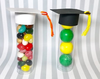 Candy Tubes - Party Favor - Graduation Party Favors - Graduation Cap Candy Tube, set of 10 - Gumball Tubes - Party Favors -Graduation Favors