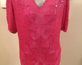Frank Usher Sequinned and Beaded Pink Top