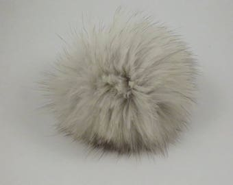 Recycled fur POMPOM - Silver FOX - Add-on pompom for hats, tuques, handbags...