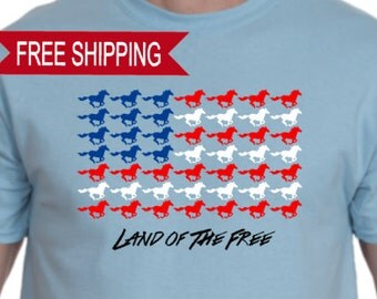 Land of The Free Patriotic Horse T Shirt, Fourth of July T Shirt, Memorial Day