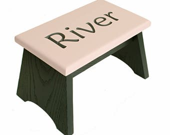 Personalized carved oak step stool. Painted in charcoal grey and pink. Wooden step stool 8 inches high, 8 x 13 inches