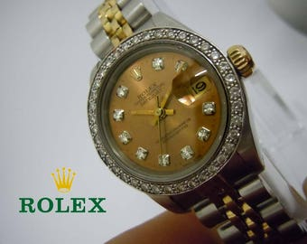 18kt Gold Stainless Ladies Rolex Datejust Copper Rose Gold Diamond Dial 69173 with Box