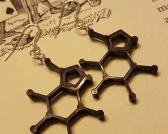 Caffeine Earrings / Caffeine Molecule / Chemistry Earrings / Laser Cut / Laser Cut Acrylic / Under 50 / Science Jewelry / Nerdy Gift for Her