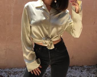 Vintage 80s Betty Barcley Champagne Silk Satin Button-up Blouse Size Small/Medium