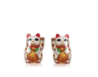 Maneki Neko Cat - Maneki Stud Earrings - Cat Earrings - Lucky Charm Talisman - Beckoning Cat - Hypoallergenic Surgical Steel Stud Earrings