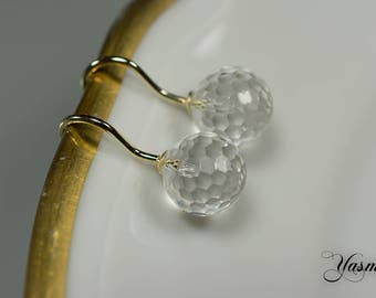 585er yellow gold with faceted rock crystal
