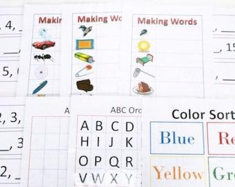 Laminated Activity Set, Montessori Sensory Game, Magnetic Baking Sheet Game, Montessori Toddler Toy