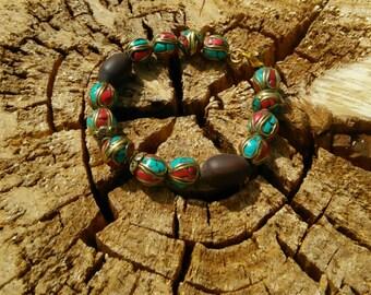Tibetan Beads and Lotus Seed Bracelet