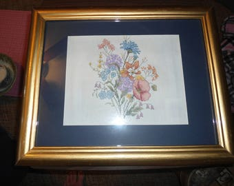 Needlepoint, Framed Art, Topiary, Gift for Her, French, Country Cottage, Home Decor, Hand Embroidered Floral Still Life, Vintage, Textile