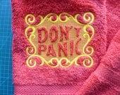 Dont Panic Towel Day. Douglas Adams The Hitchhikers Guide to the Galaxy. Do you know where your towel is Hand Towel.