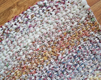Twined Rag Rug Brown Ivory Blue 28 x 18 inches