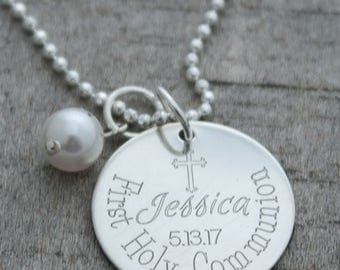 First Communion Personalized Necklace - Engraved