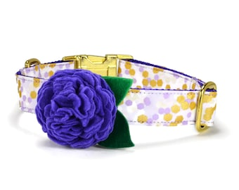Lavender Confetti Bloom Dog Collar With Orchid Bloom And Gold Hardware, Flower Dog Collar, Floral Dog Collar, Felt Flower Dog Collar