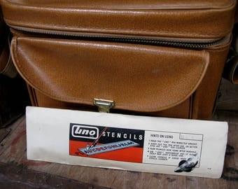 Drawing Bag and Stencils, Vintage Bag, Artists Bag, Drawing Gift, Artists Gift, Vintage Stencils, Camera Bag, Vintage Camera Bag, 1960s Bag