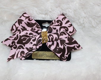 z Brown and Pink Paisley Hair Bow