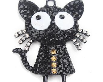 Black Cat Bubblegum Chunk Bead Rhinestone Pendant