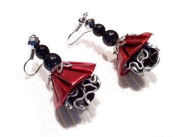 Earrings dangling red and black recycled coffee Nespresso capsules