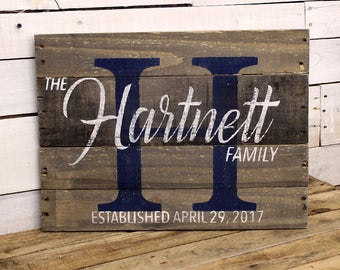 Wedding Custom Wood Name Sign | Custom Wedding Gift | Pallet Name Sign | Rustic Wedding Established Sign | Distressed Pallet Wood Sign