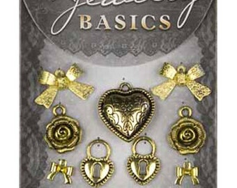 Jewelry Basics Metal Charms Gold Mix 9 Pc