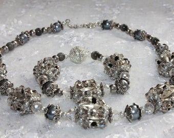 Grey necklace bib necklace statement gift women wife birthday mom birthday trending necklace gray jewelry for her wife bi