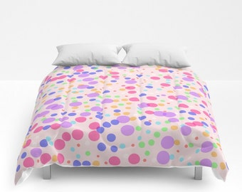 Duvet Cover or Comforter - Different sizes, Bedroom, Home decor, Kids, Cheerful, Gift, Nursery, Colorful, Dots, Pink, Purple, White, Red