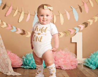 Gold 'Wild One' Onesie | Glitter Gold 'Wild One' Onesie with Gold Arrow | Gold Girls 1st Birthday Onesie© | Glitter Sparkle Birthday Onesie