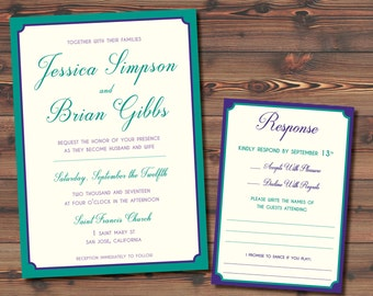 Set Of 20 Peacock Wedding Invitation Suite