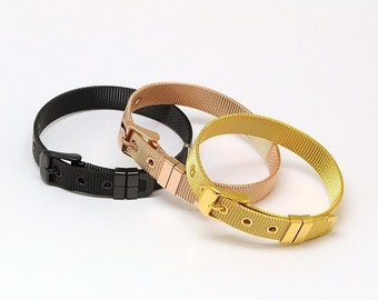 BLACK Stainless Steel Mesh Buckle Bracelet Fits 10mm Slide Keep Collective Charms
