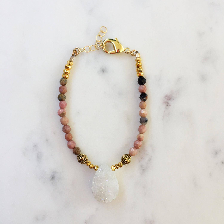 Druzy Teardrop Beaded Bracelet | Raw Gemstones | Beaded Bracelet |