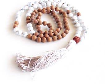 Howlite Mala Necklace Sandalwood Mala 108 Mala Necklace Yoga Necklace Meditation Necklace Tassel Necklace Prayer Beads Gift