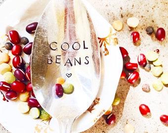 Cool Beans Spoon Serving Spoon Holiday Spoon Christmas Spoon Stamped Silver Stamped Spoon Serving Flatware Serving Silverware