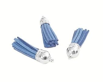 Tassels - 10 Dusty Blue Tassel Charms - Small Tassels - Silver Cap Key Chain Tassels - Tassels For Jewelry Making, Wine Charms - TC-S079