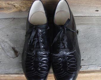 Vintage 1940's-50's Black Leather Lace Up Oxford Shoes * Unworn! * Size 7 EEE