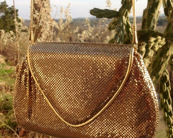 Whiting and Davis Gold Mesh Evening Bag, Gold Mesh Small Purse, Gold Mesh Clutch