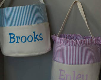 Personalized Beach Bag Pink gingham fabric with ruffle for girls or blue gingham without ruffle for boys