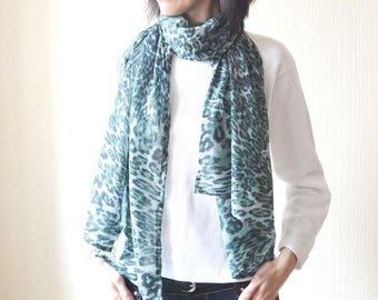 chiffon scarf womens scarves birthday gift green scarf wife gift leopard scarf summer scarf shawl long scarf beach scarf fashion scarf