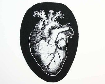 Anatomical heart embellishment - horror fabric, real heart notion, upcycle clothing, anatomy embellishment, gothic fabric, halloween fabric