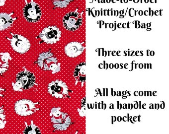 Knitting Project Bag, Sheep Knitting in Red, Sweater, Sock Knitting Bag, Zippered Project Bag, Crochet Bag, Cross Stitch Project Bag