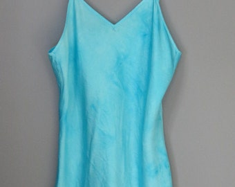 Cami, silk blouse, silk pajamas, size M, hand dyed silk camisole, gift for her, tank top, turquoise silk