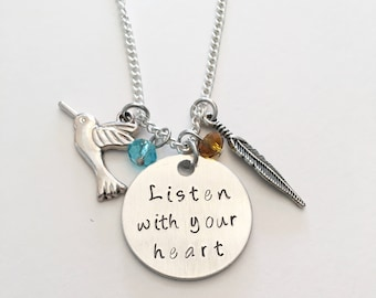 Listen With Your Heart Pocahontas Disney Princess Inspired Hand Stamped Charm Necklace