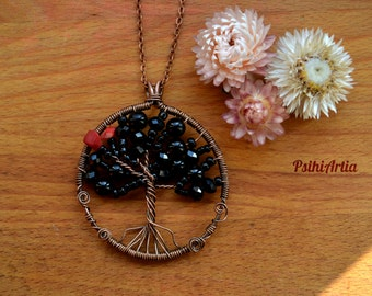 Tree of life pendant, Tree of life necklace, Wire wrapped pendant, Copper wire pendant, Black tree of life, Copper necklace, Beads pendant