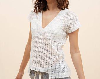 White Crochet Shirt, Loose Shirt, White Oversized Top, White Top, Spring Shirt, Spring Tops, Spring Clothes, Spring Clothing, Spring Fashion