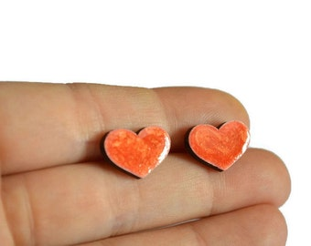 red heart earrings stud earrings bridesmaids gifts|for|girlfriend Gift|for|her Gift idea gift|for|womens gift heart gifts Handmade earrings