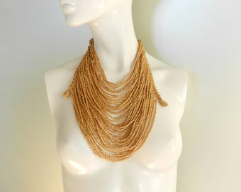 Modern knitted jewelry party necklace gold color necklace big knit jewelry yarn necklace infinity knit necklace statement necklace