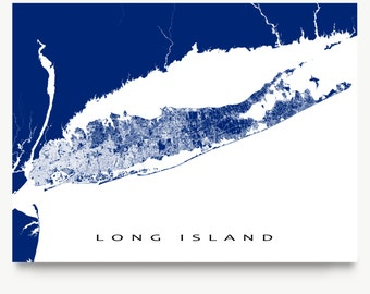 Long Island Map Print, Long Island Art, Long Island New York State, USA Map Prints