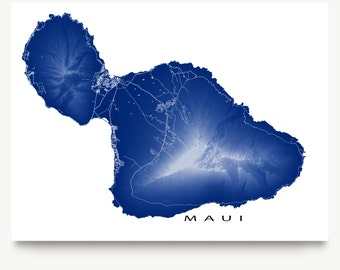 Maui Map Print, Maui Hawaii Map Art, Hawaiian Island Poster