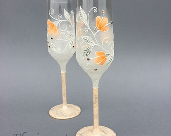 Peach Wedding glasses, Wine glasses,Champagne flutes, Personalized glasses