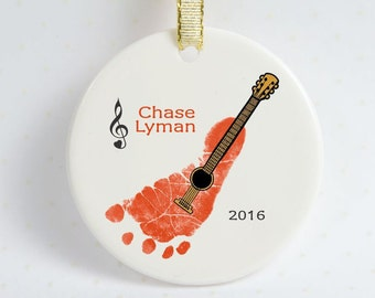 Guitar Footprint Ornament, Personalize on the Back, Handprint & Footprint Art Creations, Great Hoilday Gift For Moms, Dads, Grandparents